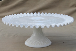 milk glass serving dishes, cake stands, compote bowls, candy dishes, trays & platters