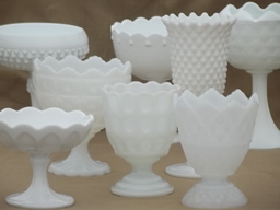 milk glass vases, planters, and candle holders