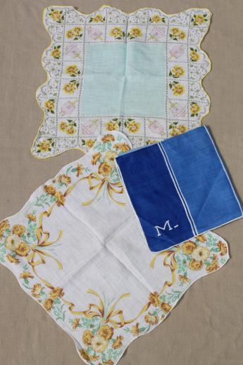 1950s 60s vintage flower print hankies, lot of 25 printed cotton handkerchiefs