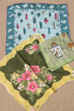 1950s 60s vintage flower print hankies, lot of 25 printed cotton handkerchiefs