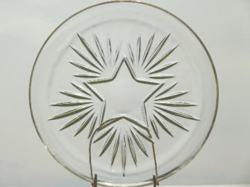Federal star pattern vintage glass cake plate or round platter