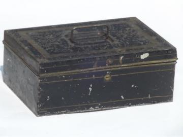 antique vintage tin document box, toleware deed box w/ worn original paint