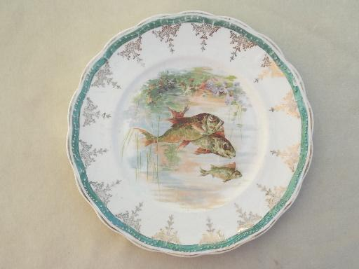 & antique Sterling china fish plates different fishes in a pond