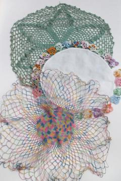 cotton lace crochet doilies lot, vintage pansies flower doily, rainbow thread doily