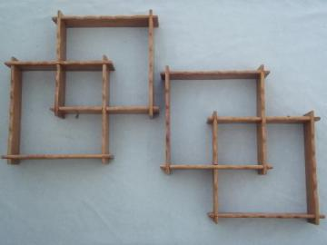 vintage country wood shadowbox frames set, pair of wall art shelves