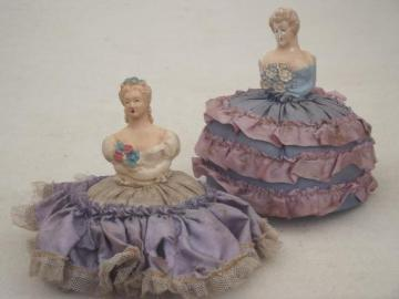 vintage figural lady sewing pincushions, lovely ladies chalkware dolls