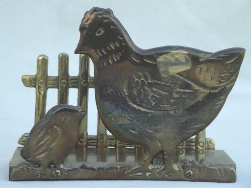 vintage napkin holder w/ chickens, solid brass kitchen napkin holder