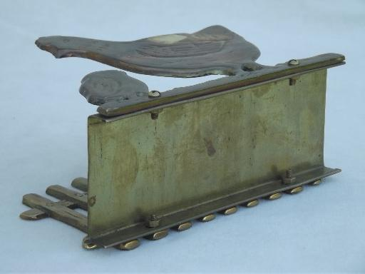 vintage napkin holder w/ chickens, solid brass kitchen