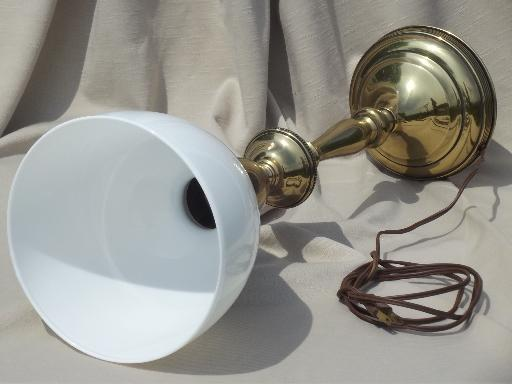 0s 50s vintage Rembrandt brass table lamp w/ white glass torchiere shade