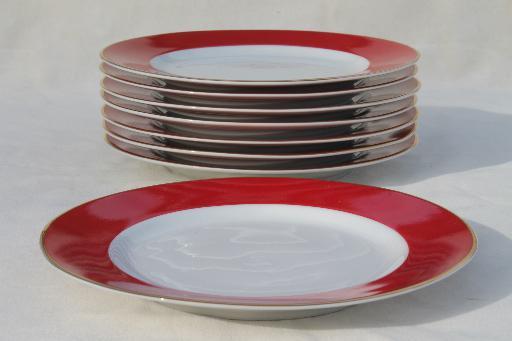 10 Strawberry St Halo red u0026 white china salad plates Ten Strawberry Street & 10 Strawberry St Halo red u0026 white china salad plates Ten Strawberry ...