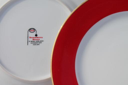 10 Strawberry St Halo red \u0026 white china salad plates Ten Strawberry Street & 10 Strawberry St Halo red \u0026 white china salad plates Ten Strawberry ...