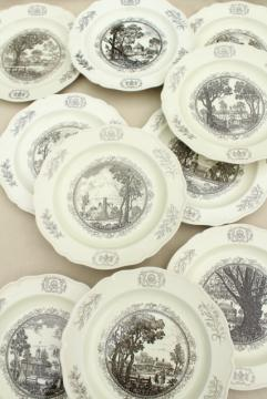 10 Wedgwood china dinner plates, black transferware scenes of Williamsburg