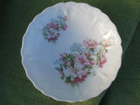 10 antique azalea lily floral china fruit bowls, vintage Germany?