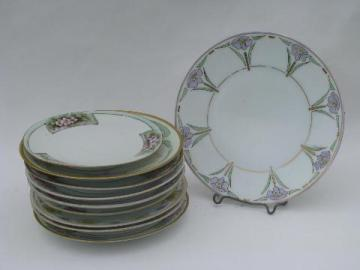 10 antique hand-painted china plates, art nouveau & art deco vintage flowers