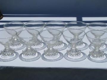 10 boopie candlewick beads footed sherbet glasses, vintage Hocking glass