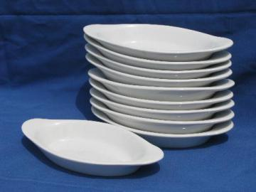 10 individual gratins, old oven proof ironstone china oval gratin pans