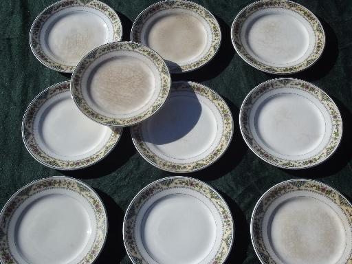 10 old antique Homer Laughlin china plates, shabby vintage tiny floral
