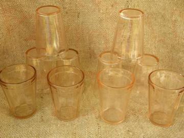 10 old pink depression glass juice glasses, vintage Hazel-Atlas