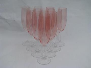 10 pink & clear glass champagne flutes, fluted champagnes glasses
