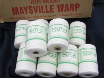 10 spools vintage Maysville cotton rug thread, carpet warp weaving cord