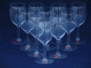 10 unused vintage Seneca glass label wine glasses, wheel-cut leaves