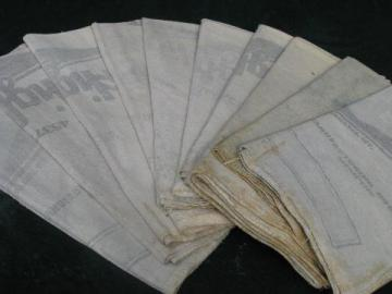 10 vintage feedsack shop/kitchen towels, heavy old cotton sacking fabric
