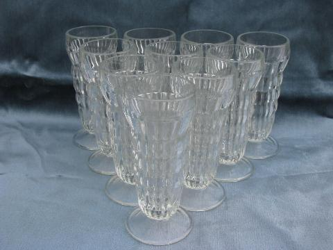 Super 10 vintage ice cream soda, float or parfait glasses, heavy ribbed  FF23