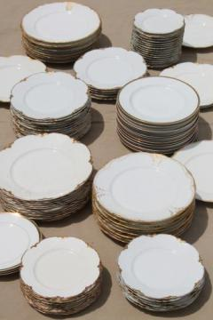 100 antique vintage mismatched china plates perfect for weddings, pure white w/ gold mixed patterns