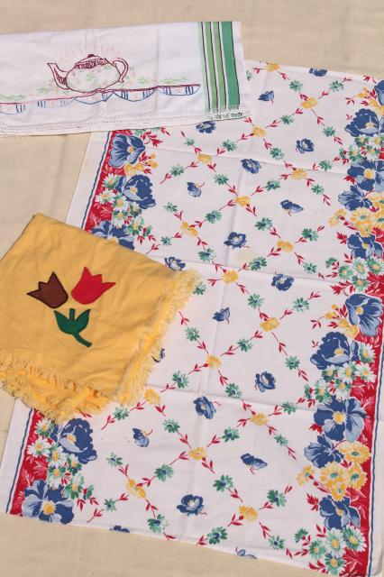 100 Pieces Lot Of Vintage Kitchen Linens, Dish Towels, Potholders,  Tablecloths U0026 Napkins