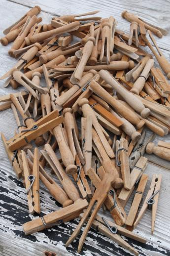 100 vintage wood clothespins, primitive old wooden clothespin lot
