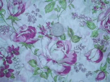 11 yds vintage 36 wide sheer cotton fabric, plum colored roses floral print