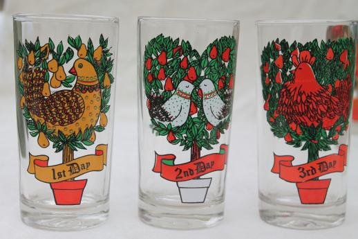 Days of christmas drinking glasses set vintage anchor