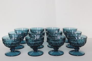 12 Riviera blue smoke glass sherbets or champagne glasses, cube pattern Colony Whitehall