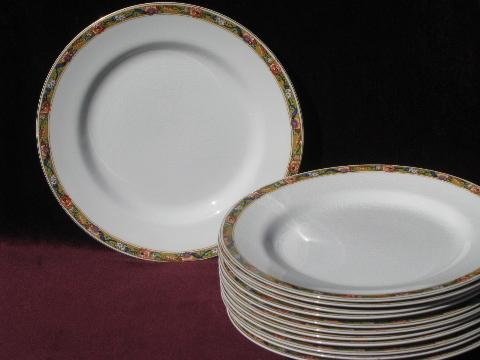 12 Antique Johnson Bros China Plates Oriental Floral On
