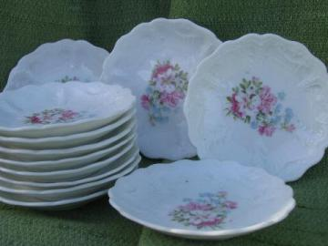 12 antique azalea lily floral china butter pat plates, vintage Germany?