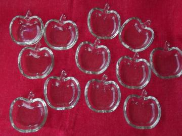 12 apple shaped pressed glass dishes, salt dips or butter pat plates?