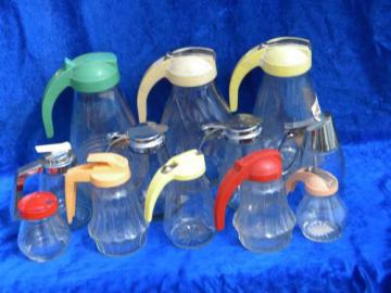 12 collectible vintage glass syrup pitchers, old kitchenware pitcher lot