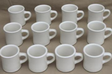 12 heavy white ironstone china coffee cups or tea mugs, vintage restaurant ware