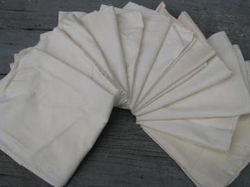 12 kitchen dish towels, vintage unbleached cotton flour sack fabric