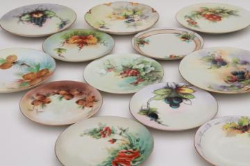 12 mismatched antique hand painted china plates, autumn summer harvest fruit & flowers