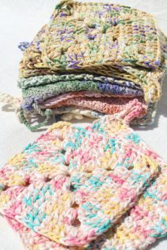12 new hand knit crochet cotton kitchen pot holders w/ hanging loops