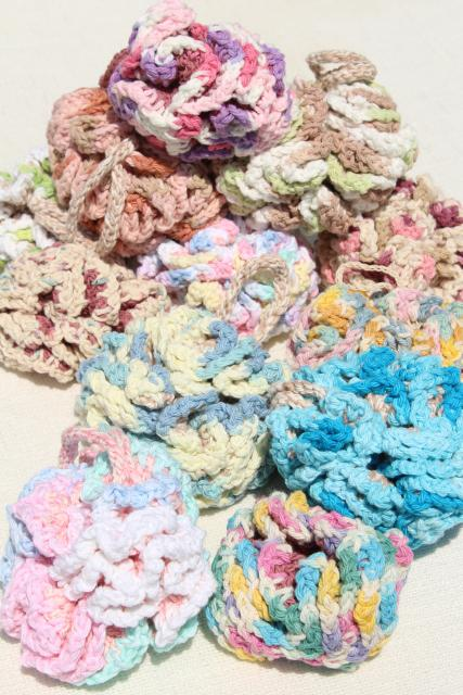 12 new hand knit crochet cotton wash cloth bath puff, round scrubby poofs for the shower