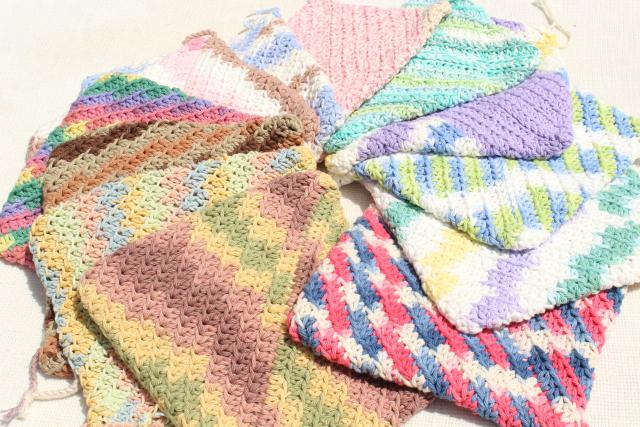 12 new hand knit crochet cotton washcloths, dish cloths or pot holders w/ double layer thickness