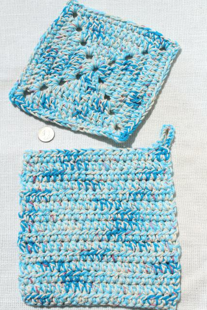 12 new hand knit crochet cotton washcloths, dish cloths or pot holders w/ hanging loops