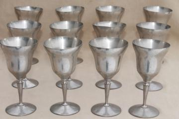 12 pewter goblets, large wine / water glasses, vintage New Amsterdam Silver New York