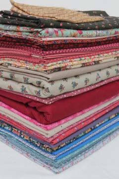 12 pounds vintage fabric, lot country quilting prints & solids, 80s cotton & blends