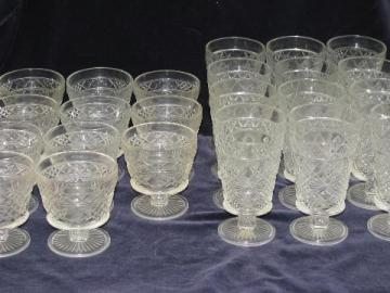 12 sherbets and 12 water goblets, vintage Hazel Atlas Gothic pattern glasses