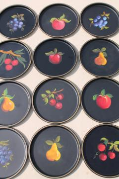 12 small round metal trays, vintage tole painted tray set w/ fruit designs on black
