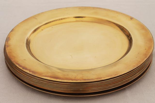 12 solid brass charger plates vintage dinner plates for a medieval banquet table & 12 solid brass charger plates vintage dinner plates for a medieval ...
