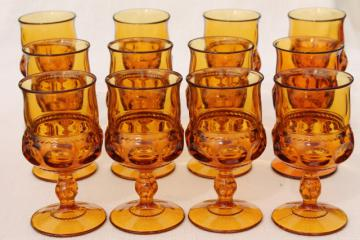 12 vintage amber glass wine glasses water goblets, Kings Crown thumbprint pattern